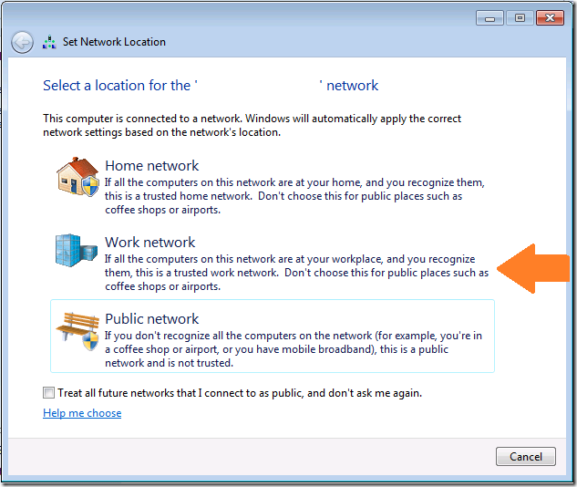 Windows 7 Network Location Prompt