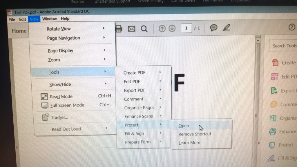 1-Open the PDF document that you would like to password protect