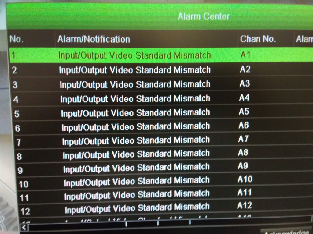 TruVision Input Output Video Standard Mismatch