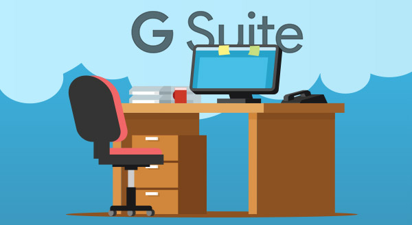 Home office user discussing G Suite Business vs Basic.