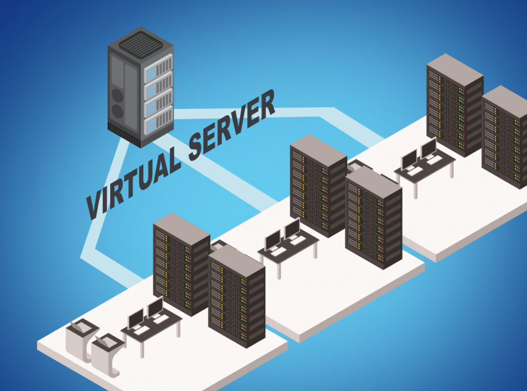 Virtual server room displaying business benefits of virtualization.