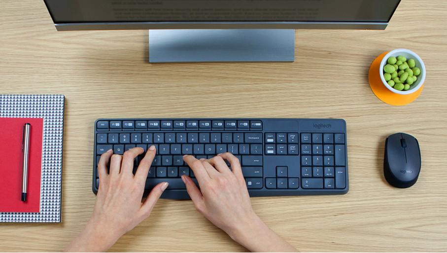 Logitech MK235 Wireless Keyboard and Mouse on a office desk