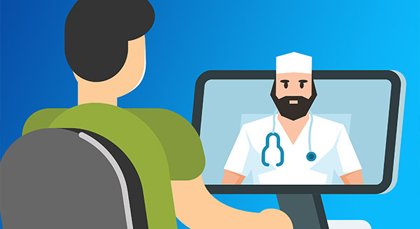 Telehealth session between patient and doctor