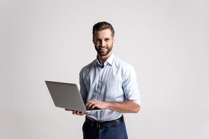 IT Systems Consultant with laptop