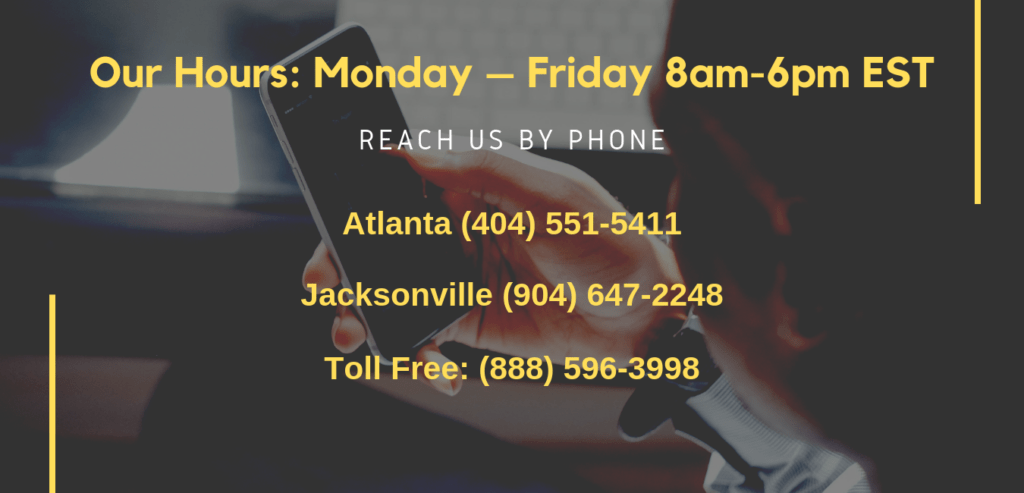 Office Hours 8am-6pm Mo-Fri Atlanta (404) 551-5411 Jacksonville (904) 647-2248